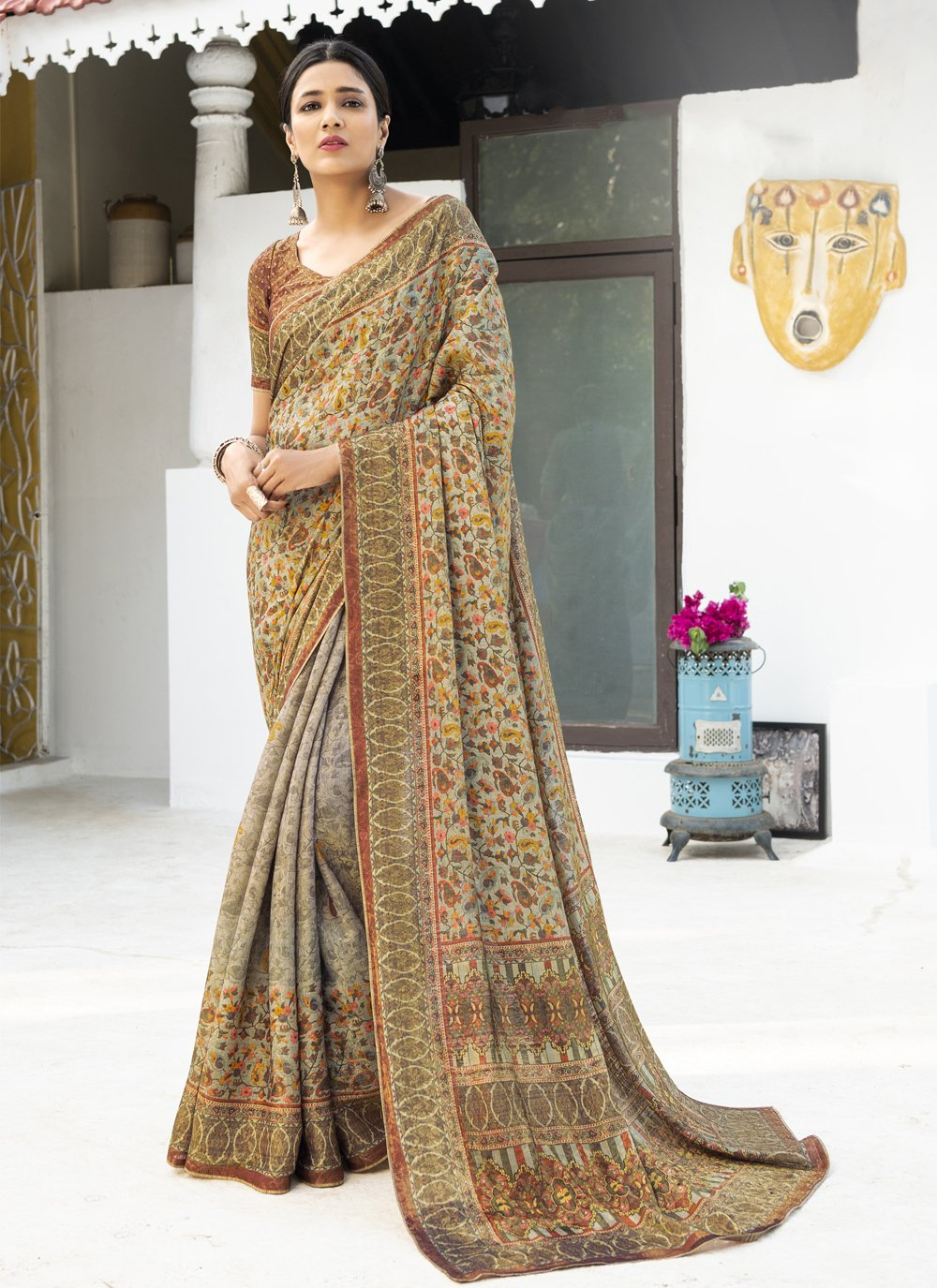 Silk Digital Print Multi Colour Designer Traditional Saree