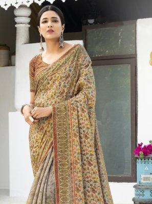 Silk Digital Print Multi Colour Designer Traditional Saree