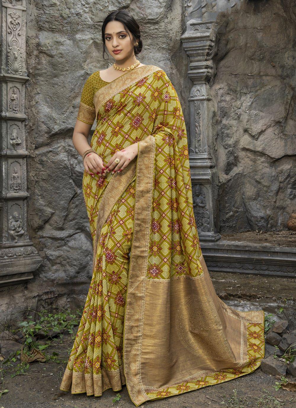 Silk Digital Print Traditional Designer Saree