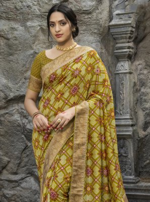 Silk Digital Print Traditional Designer Saree