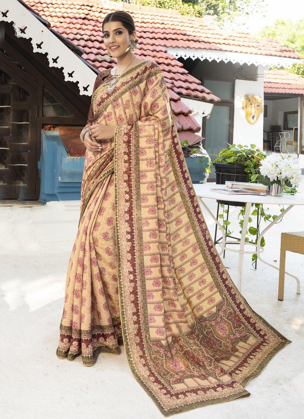 Silk Digital Print Traditional Designer Saree in Multi Colour