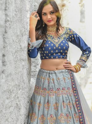 Silk Embroidered A Line Lehenga Choli in Grey