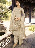 Silk Embroidered Beige Designer Palazzo Salwar Kameez