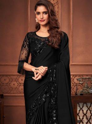 Silk Embroidered Black Designer Saree