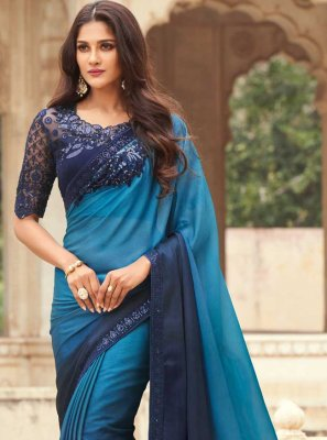 Silk Embroidered Blue Shaded Saree
