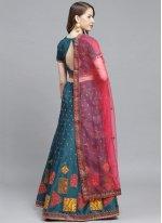 Silk Embroidered Bollywood Lehenga Choli in Teal