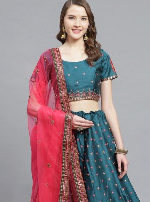Silk Embroidered Bollywood Lehenga Choli in Teal
