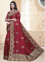 Silk Embroidered Brown Bollywood Saree