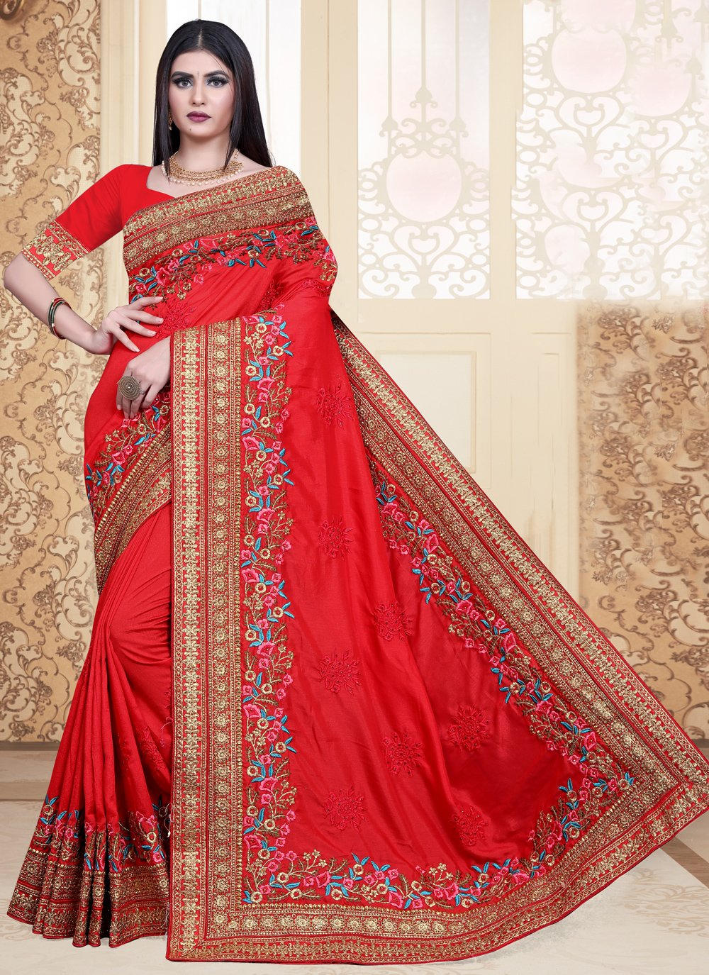 Silk Embroidered Contemporary Saree in Red