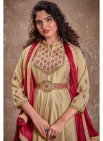 Silk Embroidered Cream Readymade Anarkali Suit