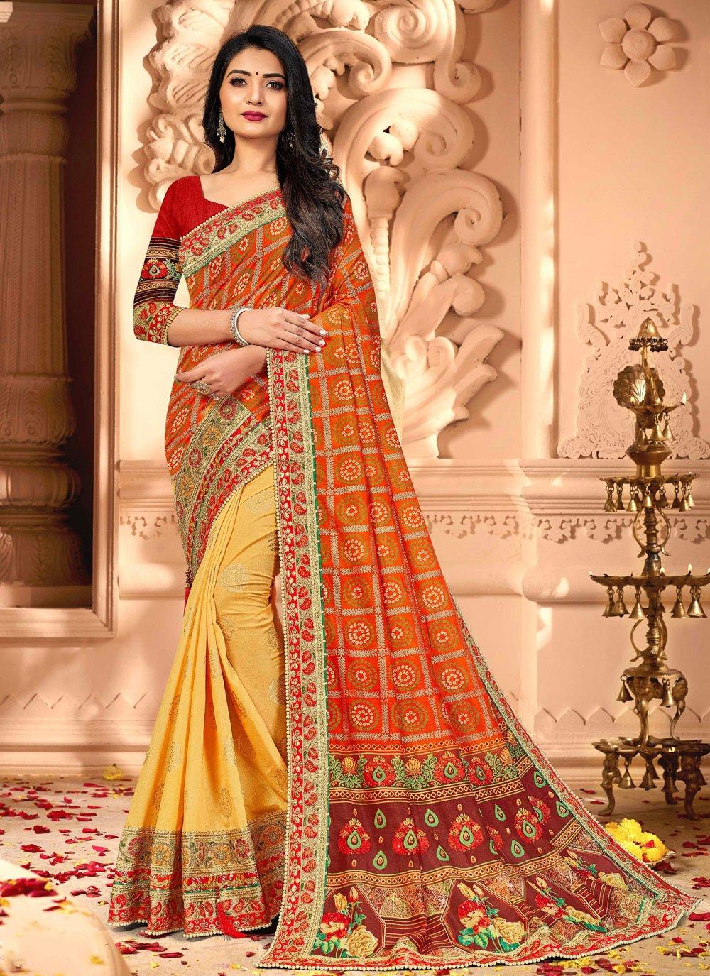 Silk Embroidered Designer Half N Half Saree in Orange and Yellow