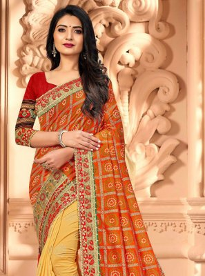Silk Embroidered Designer Half N Half Saree in Orange and Yellow