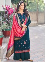 Silk Embroidered Designer Palazzo Suit