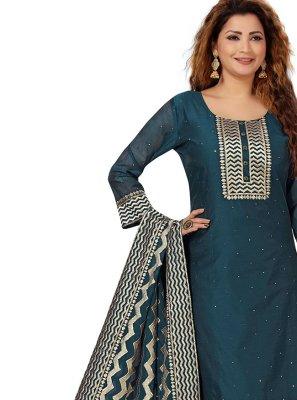 Silk Embroidered Designer Salwar Kameez