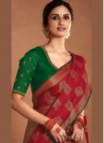 Silk Embroidered Designer Saree in Beige and Red