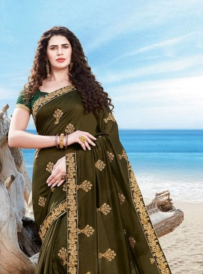 Silk Embroidered Designer Traditional Saree in Green