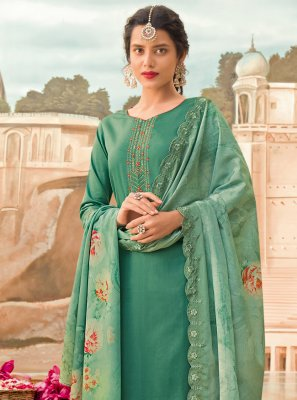 Silk Embroidered Green Designer Pakistani Salwar Suit