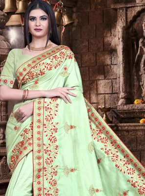 Silk Embroidered Green Designer Saree