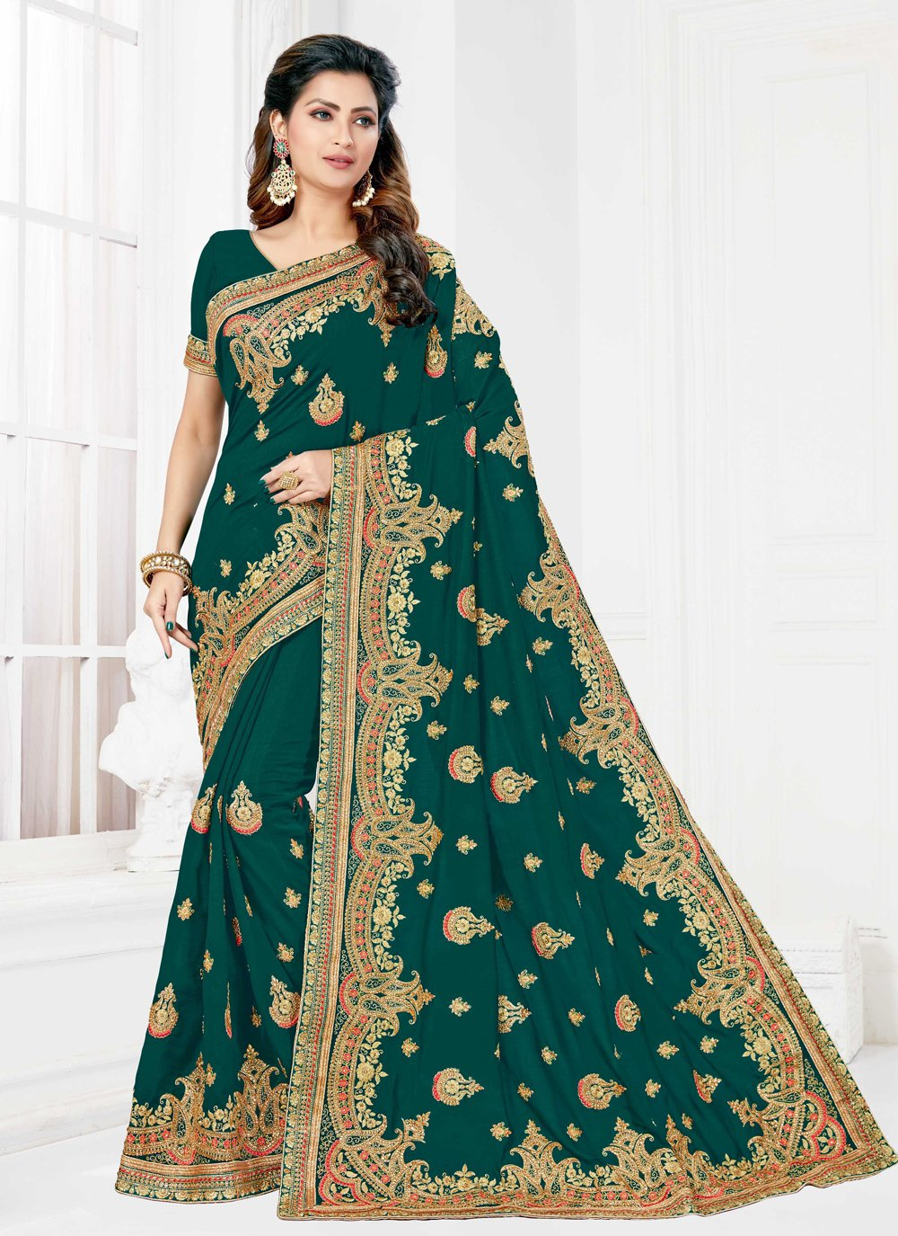 Silk Embroidered Green Designer Traditional Saree