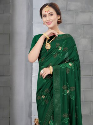 Silk Embroidered Green Traditional Designer Saree