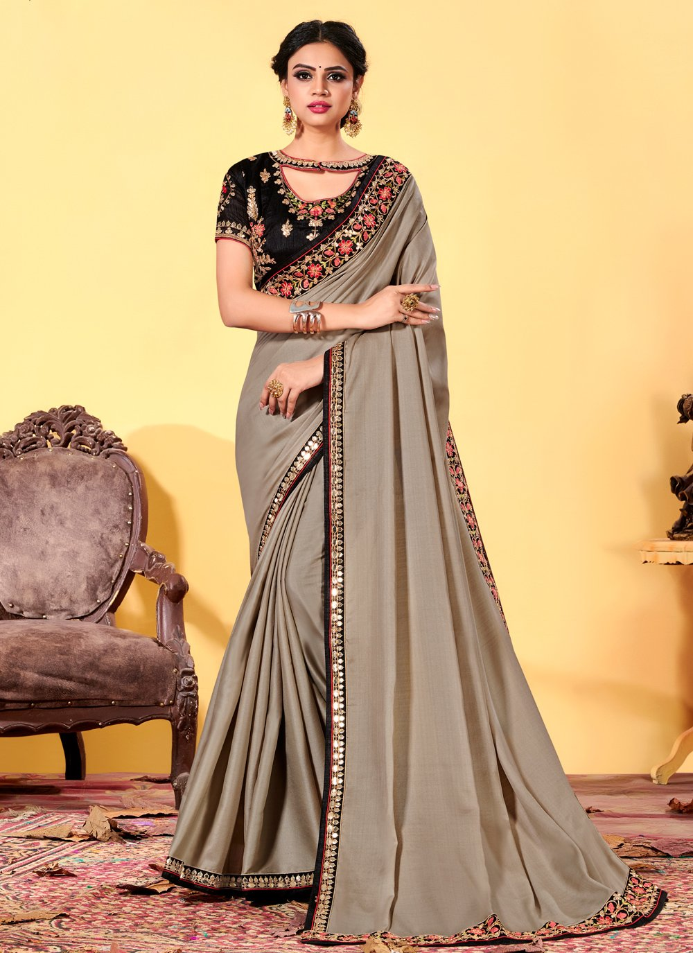 Silk Embroidered Grey Classic Designer Saree