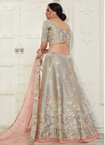 Silk Embroidered Grey Designer Lehenga Choli