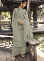 Silk Embroidered Grey Designer Palazzo Salwar Suit