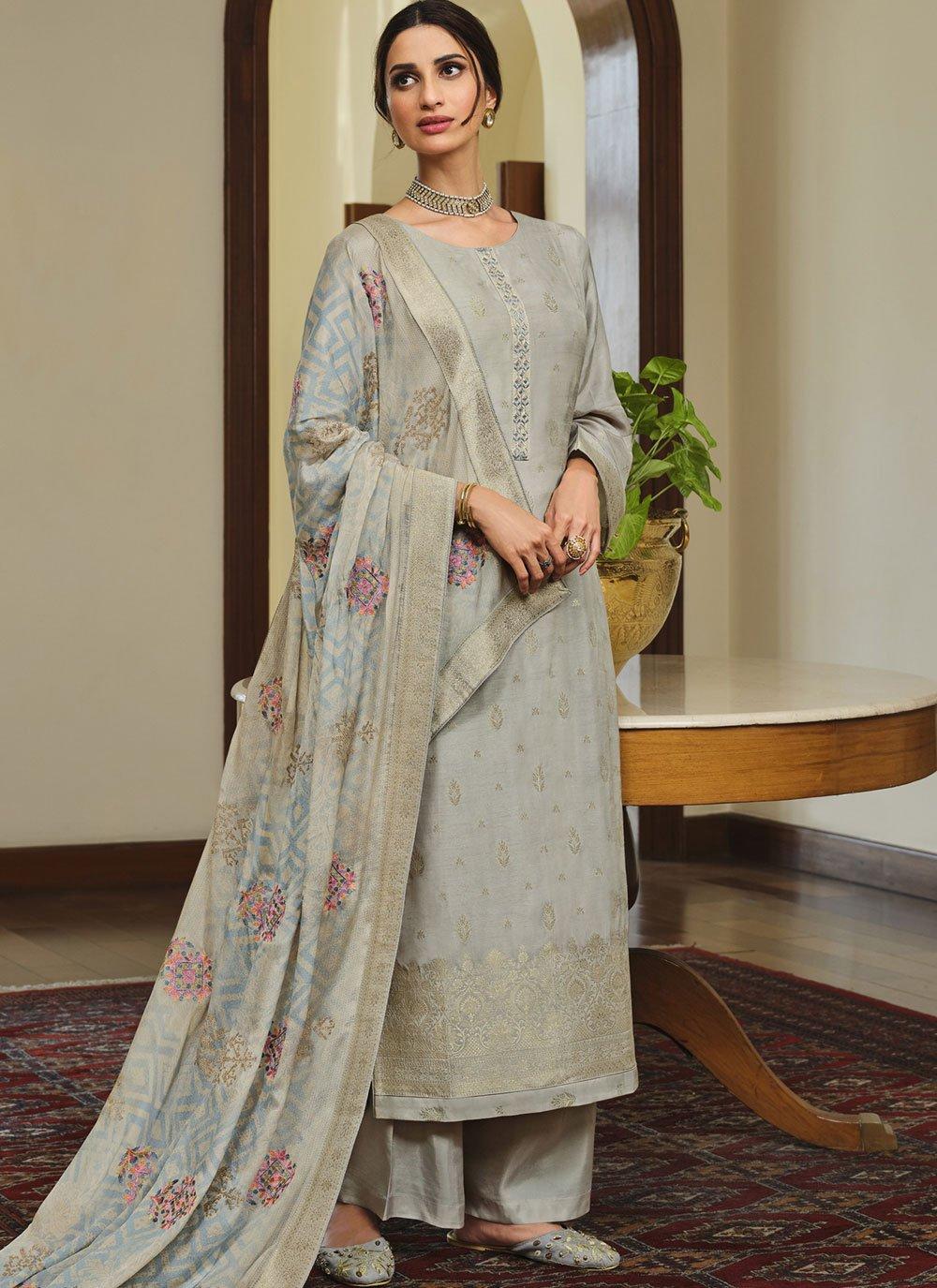 Silk Embroidered Grey Designer Palazzo Suit