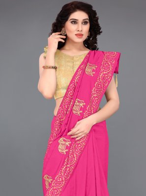 Silk Embroidered Hot Pink Printed Saree