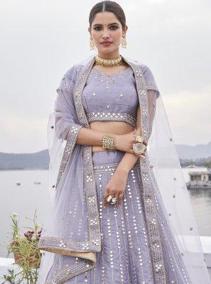 Silk Embroidered Lavender Designer Lehenga Choli
