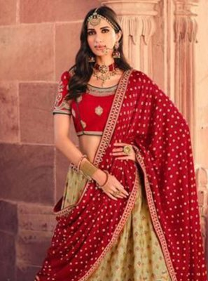 Silk Embroidered Lehenga Choli in Green and Red