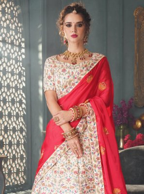 Silk Embroidered Lehenga Choli in Off White