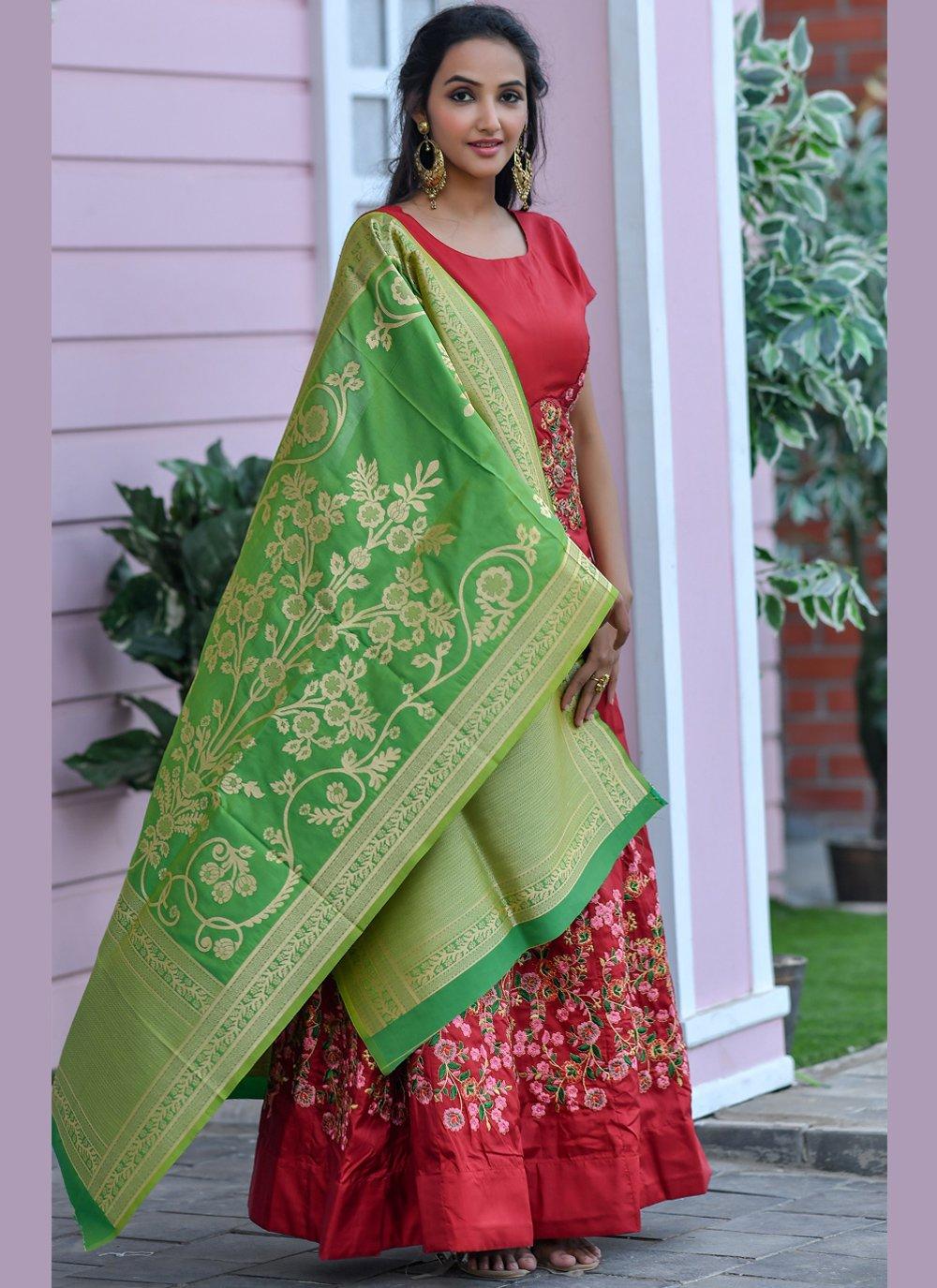 Silk Embroidered Maroon Designer Floor Length Salwar Suit
