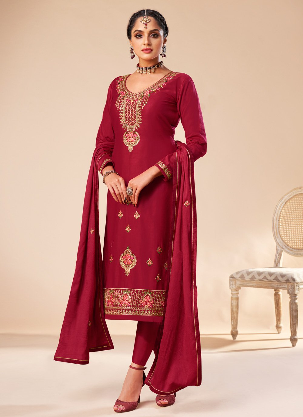 Silk Embroidered Maroon Trendy Salwar Kameez