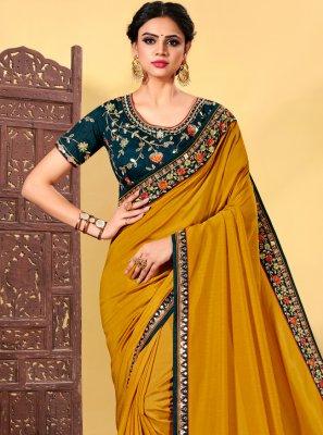 Silk Embroidered Mustard Classic Designer Saree