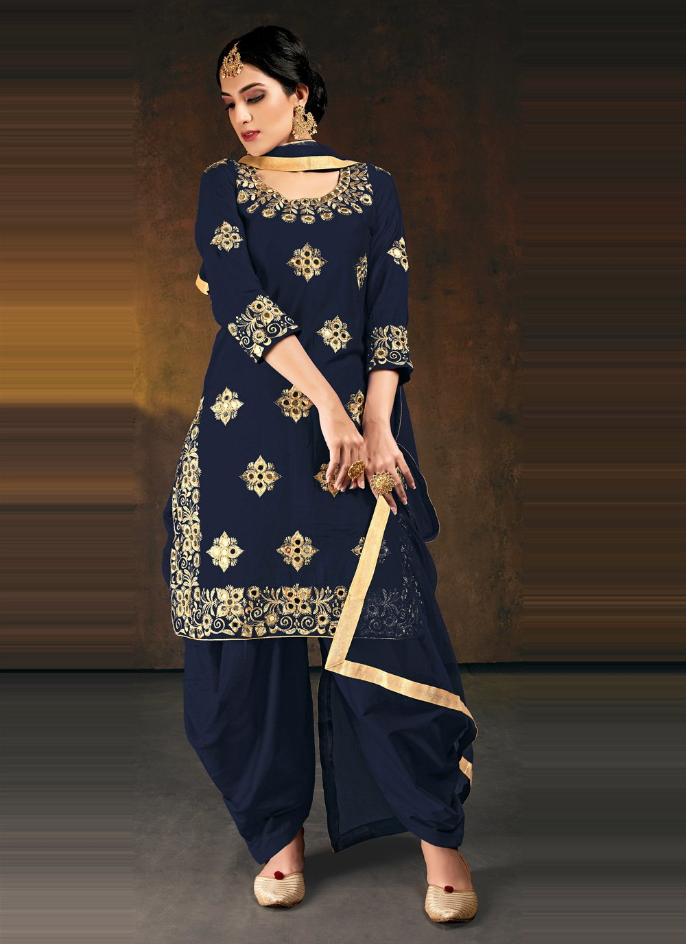 Silk Embroidered Navy Blue Designer Patiala Suit