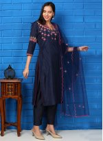 Silk Embroidered Navy Blue Readymade Suit
