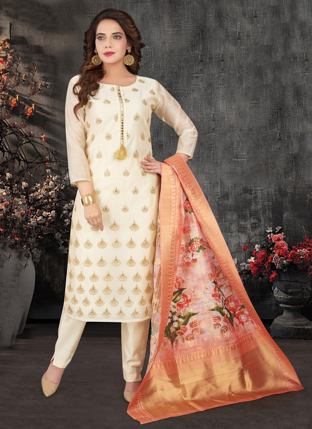 Silk Embroidered Off White Designer Salwar Kameez