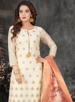 Silk Embroidered Off White Designer Salwar Kameez