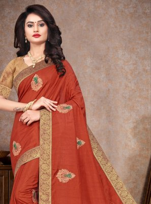Silk Embroidered Orange Contemporary Saree