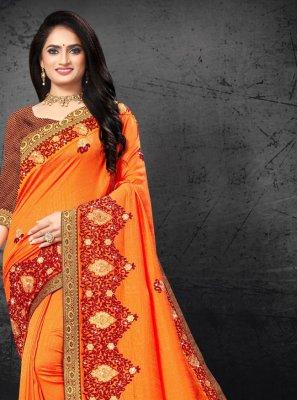 Silk Embroidered Orange Designer Traditional Saree