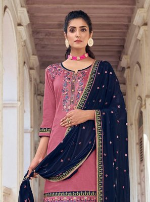 Silk Embroidered Pink Designer Patiala Suit
