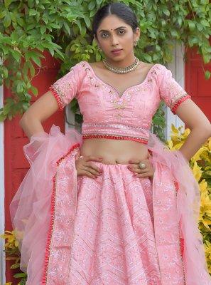 Silk Embroidered Pink Lehenga Choli