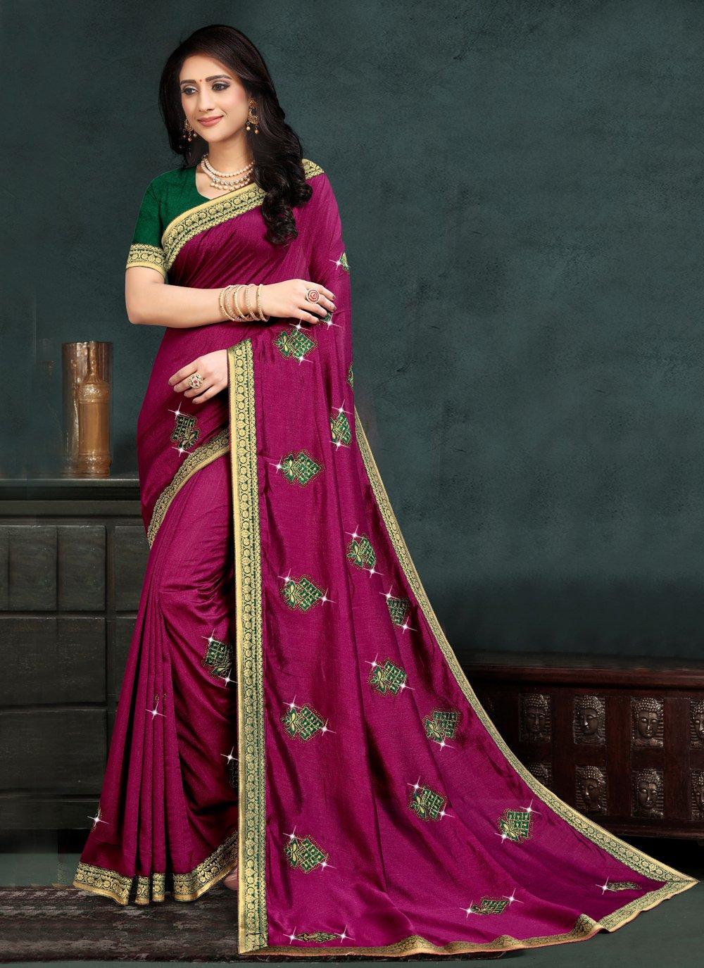 Silk Embroidered Purple Traditional Saree