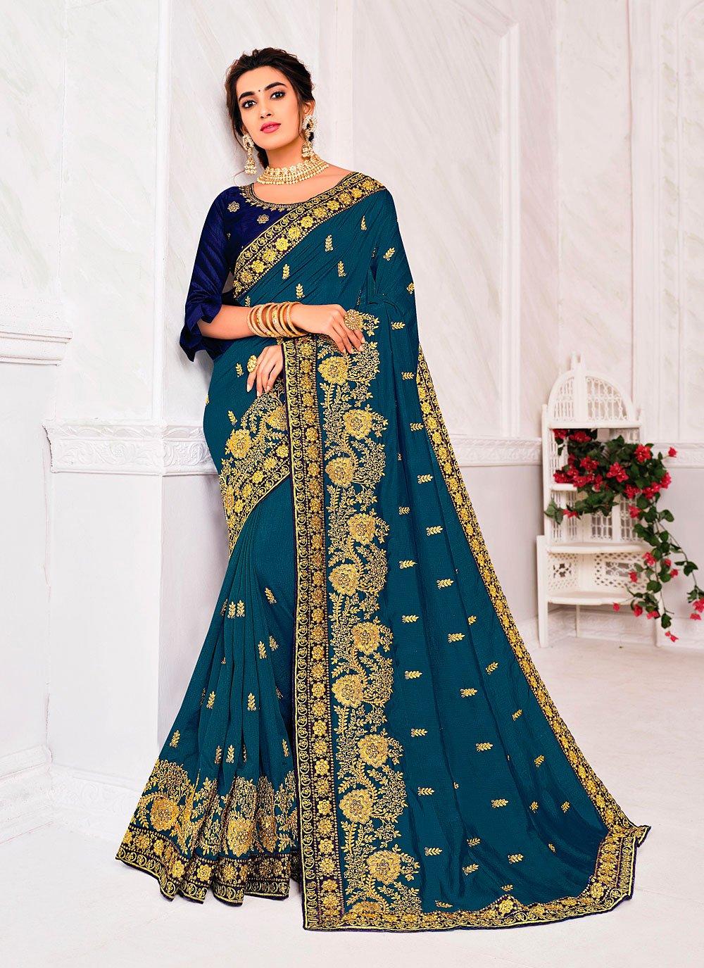 Silk Embroidered Rama Designer Saree