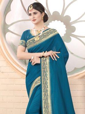 Silk Embroidered Rama Traditional Saree