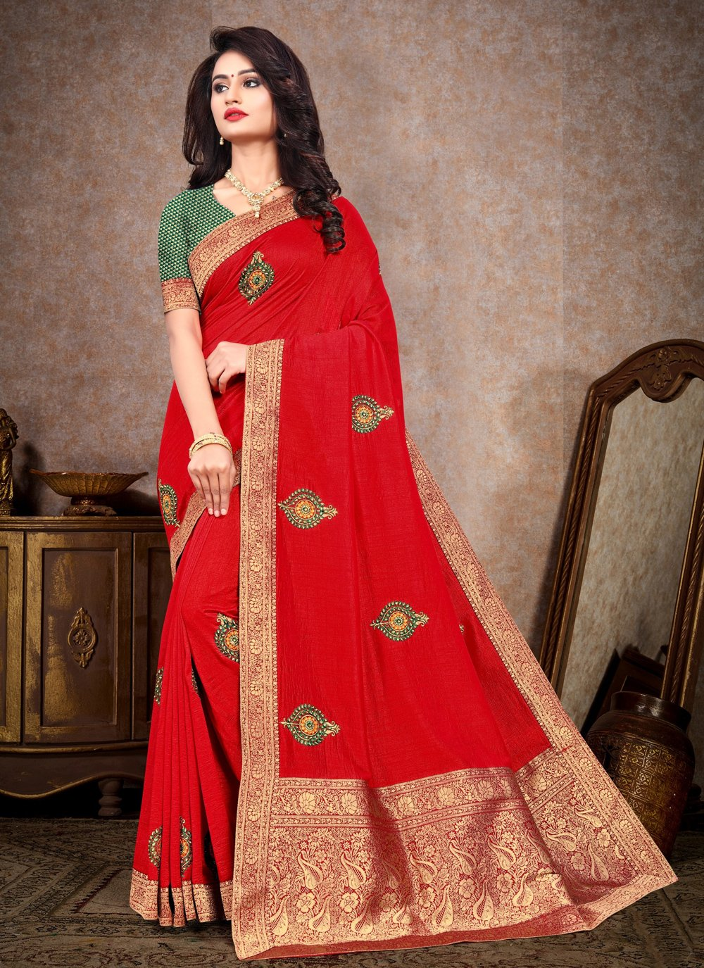 Silk Embroidered Red Trendy Saree
