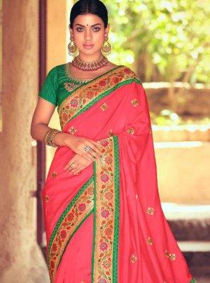Silk Embroidered Rose Pink Designer Traditional Saree