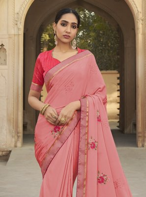 Silk Embroidered Rose Pink Traditional Saree
