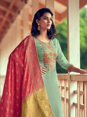 Silk Embroidered Sea Green Designer Palazzo Salwar Kameez